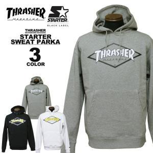 スラッシャー THRASHER トレーナー パーカー STARTER BLACK LABEL DIAMOND LOGO SWEAT PARKA メンズ レディース 裏毛 全3色 S-XL|rifflepage