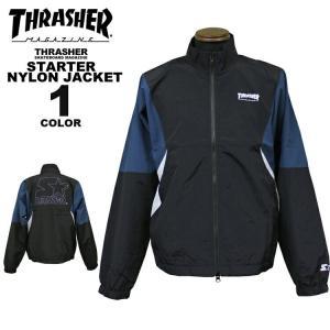 スラッシャー THRASHER ナイロン ジャケット スターター STARTER BLACK LABEL NYLON JACKET メンズ レディース ブラック 黒 S-XL|rifflepage