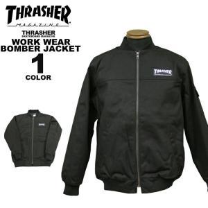 スラッシャー THRASHER ワークジャケット WORK WEAR BOMBER JACKET メンズ ブラック 黒 S-XL|rifflepage