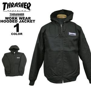 スラッシャー THRASHER ワークジャケット WORK WEAR HOODED JACKET メンズ ブラック 黒 S-XL|rifflepage