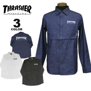 (公式)スラッシャー シャツ THRASHER MAG W.POCKET L/S WORK SHIRTS 長袖ワークシャツ メンズ レディース 全3色 S-XL rifflepage