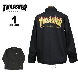 【SALE】 (公式)スラッシャー コーチジャケット THRASHER GOAT FLAME T/C COACH JACKET メンズ レディース ブラック 黒 S-XL rifflepage
