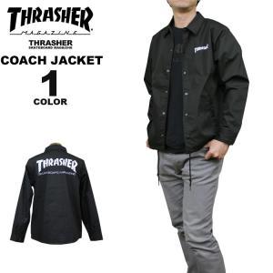スラッシャー THRASHER 直営店限定 コーチジャケット MAG T/C COACH JACKET メンズ レディース ブラック 黒 S-XL|rifflepage