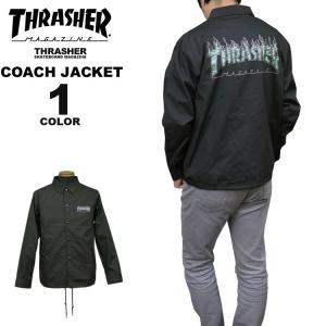 スラッシャー THRASHER 直営店限定 コーチジャケット TIGER FLAME CAMO T/C COACH JACKET メンズ レディース ブラック 黒 S-XL|rifflepage