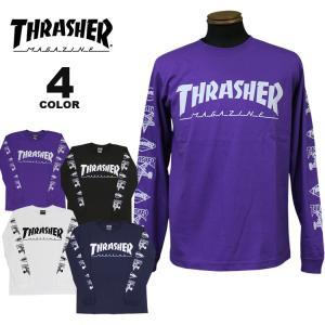 (公式)スラッシャー Tシャツ ロンT THRASHER MULTI-E L/S T-SHIRTS 長袖 TEE 袖プリント メンズ レディース 全4色 S-XL|rifflepage