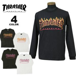 (公式)スラッシャー Tシャツ ロンT THRASHER FLAME OUTLINE USA COTTON L/S T-SHIRTS 長袖 TEE プリント メンズ レディース アメリカ綿 全4色 S-XL rifflepage