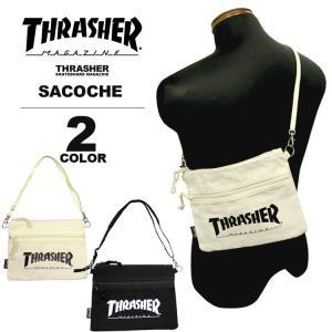 スラッシャー THRASHER サコッシュ MAG LOGO CANVAS SACOCHE ショルダーバック メンズ レディース ブラック 黒 アイボリー|rifflepage