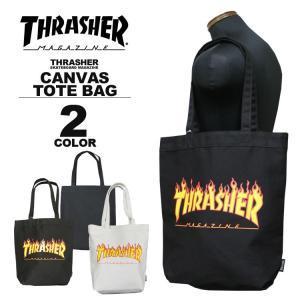 スラッシャー THRASHER トートバック FLAME LOGO CANVAS TOTE BAG ブラック 黒 アイボリー メンズ レディース|rifflepage