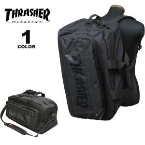 (公式)スラッシャー ボストンバック THRASHER 3WAY BOSTON BAG リュック バックパック ショルダー メンズ レディース ユニセックス 60L ブラック 黒|rifflepage