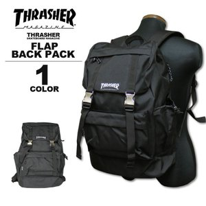 スラッシャー THRASHER リュック MAG LOGO FLAP BACK PACK デイバック メンズ レディース バックパック ブラック|rifflepage