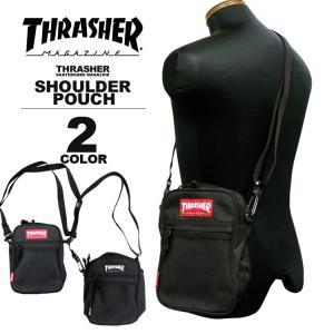 スラッシャー THRASHER ショルダーポーチ MAG LOGO MINI SHOULDER POUCH ショルダーバック メンズ レディース ブラック 黒|rifflepage