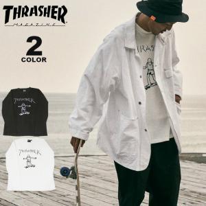 スラッシャー Tシャツ THRASHER GONZ PILE L/S T-SHIRTS オーバーサイズ ルーズフィット ロンTEE メンズ レディース パイル 全2色 M-XL(公式) rifflepage