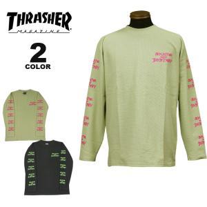 スラッシャー Tシャツ THRASHER SK8&DESTROY THERMAL L/S T-SHIRTS オーバーサイズ ルーズフィット ロンTEE メンズ レディース サーマル 全2色 M-XL(公式) rifflepage