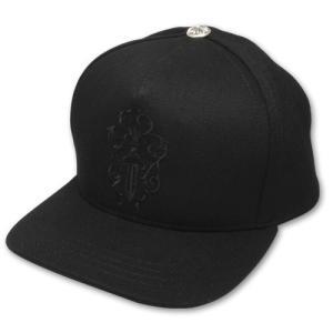 クロムハーツ CHROME HEARTS/キャップ・帽子 デニム ベースボールキャップ ダガー ブラック|rifu