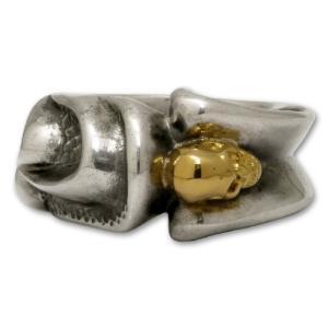 ガボラトリー/ガボール/Gaboratory リング/指輪 ゴシックリングw/18Kゴールド Tバースカル R-28|rifu