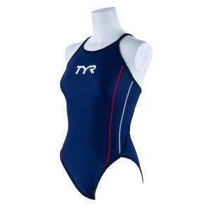 TYR レディース ジュニア水着 競泳 練習用 ワンピース水着 FSLIDJR-20S-NVRD|rightavail