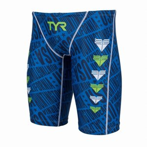 TYR メンズ水着 競泳 練習用 ロングボクサー水着 JCHEV-18M-BL|rightavail