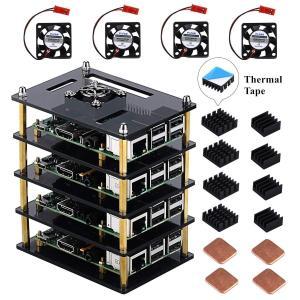 GeeekPi Raspberry Pi 4モデルB用Piラックケース、冷却ファンおよびヒートシンク...