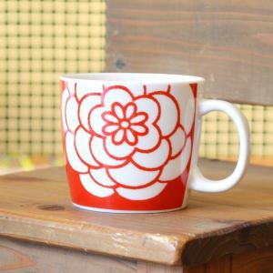 ほにや マグカップ菊 白菊 赤地 花柄 優しい感性 可憐 マグ honiya  HONIYA riguru-online