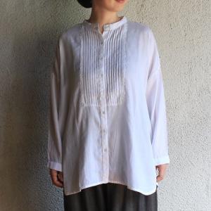 シサム工房 サテンライブラリーシャツ サテンコットン チュニック 刺繍 スタンドカラー 綿100% ナチュラル フェアトレード Fairtrade エシカル|riguru-online
