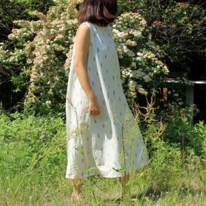 シサム工房  IKAT バックタックノースリ ワンピース Fairtrade エシカル 綿100% 着やせ ゆったり 絣|riguru-online