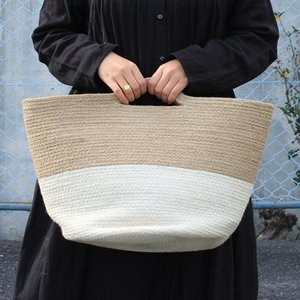 シサム工房 ジュート2トーンBag 白 黄麻 ナチュラル 手編み フェアトレード 夏 かご インテリア シンプル Fairtrade|riguru-online