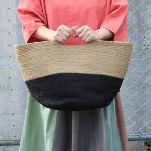シサム工房 ジュート2トーンBag 黒 黄麻 ナチュラル 手編み フェアトレード 夏 かご インテリア シンプル Fairtrade|riguru-online