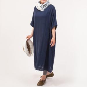 シサム工房 ダブルガーゼ キリカエシシュウマエポッケ ワンピース  綿100% ナチュラル フェアトレード 半袖 お呼ばれ 大人女子 エシカル 細見え 着やせ|riguru-online