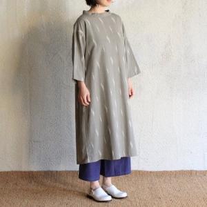 シサム工房  ikat バンドカラー ワンピース IKGY グレイ ナチュラル フェアトレード Fairtrade エシカル|riguru-online