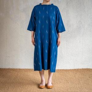 シサム工房 ikat バンドカラー ワンピース IKNV ネイビー ナチュラル フェアトレード Fairtrade エシカル|riguru-online