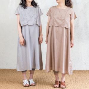 シサム工房 レイヤード 刺繍ワンピース 綿100% ナチュラル フェアトレード 半袖ワンピ お呼ばれワンピ 大人女子 エシカル 細見え 着やせ|riguru-online