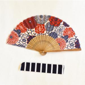 ほにや 菊丸扇子 せんす 白地に赤花 和柄 和風 HONIYA  ケース付 ギフト riguru-online