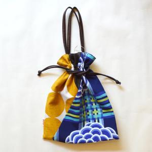 ほにや 着物衿巾着 格子菊 青 レトロ 和モダン 着物 和装小物 和装 袴 卒業式 日本製 成人式 和装用 riguru-online