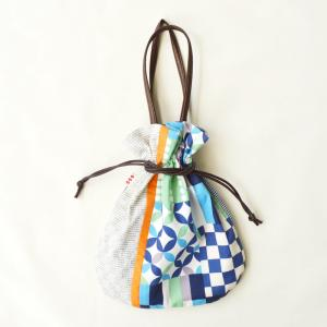ほにや 花半月巾着 青 手提げ巾着  和装小物 和装 袴 卒業式 日本製 成人式 和装用 riguru-online