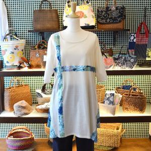 万華菊 あさぎ クロスカットソー ほにや チュニック 半袖 和柄 花柄|riguru-online