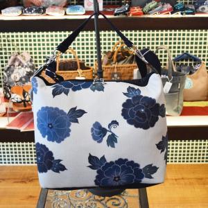 2Way ショルダーバッグ(游花文様 藍) ほにや 和柄 ショルダー 手提げ riguru-online