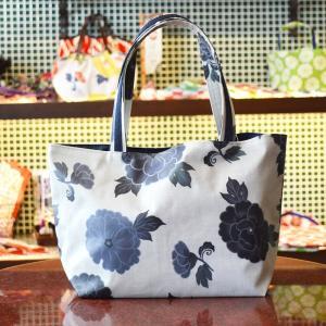 ほにや 遊花トートバッグ 遊文様 白地藍花 PVC 塩化ビニール加工 かわいい 花柄 riguru-online