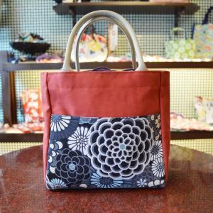 ほにや ピクニックトートバッグ 万華菊黒 赤 和柄 花柄 巾着 和風  riguru-online