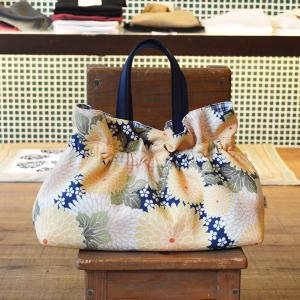 ほにや ギャザーバッグ 手提げバッグ 寿々丸 紺色地 黄色花 花柄 和柄 お買い物 お出かけ クリスマス ギフト |riguru-online
