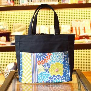 ほにや ピクニックトートバッグ 花あわせ 海色 黒色 和柄 花柄 巾着 和風 母の日 ギフト |riguru-online