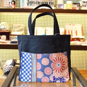 ほにや ピクニックトートバッグ 花あわせ さんご色 黒色 和柄 花柄 巾着 和風 母の日 ギフト |riguru-online