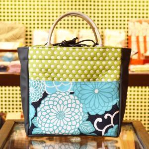 ほにや ピクニックトートバッグ 新菊丸ブルー 黒地 きみどり水玉 和柄 花柄 巾着 和風 水玉 母の日 ギフト |riguru-online