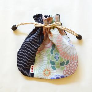 ほにや 半円豆巾着 万華菊 桃色若草 着物 和装小物 和装 子供浴衣 小物入 日本製 よさこい ギフト riguru-online