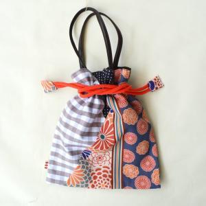 ほにや  着物衿巾着  花あわせ  珊瑚色  ギンガムチェック   和装小物 和装 袴 卒業式 日本製 成人式 和装用 riguru-online