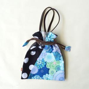 ほにや 着物衿巾着 万華菊 浅葱  水玉 和装小物 和装 袴 卒業式 日本製 成人式 和装用 riguru-online