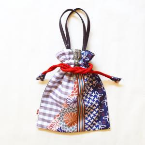 ほにや 着物衿巾着 花あわせ 珊瑚色 ギンガムチェック 着 和装小物 和装 袴 卒業式 日本製 成人式 和装用 riguru-online