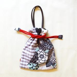 ほにや 着物衿巾着 新菊丸 あさぎ ギンガムチェック 着 和装小物 和装 袴 卒業式 日本製 成人式 和装用 riguru-online