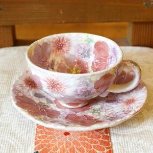 工房ゆずりは カップ&ソーサー 薄紅色絵花 瀬戸焼 花柄 優しい感性 女性だけの工房 手描き 可憐 彩り豊か 陶器 コーヒーティーカップ コーヒー碗 riguru-online