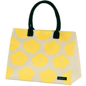 はこバッグ hacobag レモンフラワー M トートバッグ レモン色 花柄 箱型 大容量 丈夫 手提げバッグ 三輪 シンプル エコバッグ|riguru-online