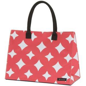 はこバッグ hacobag 七宝つなぎ M トートバッグ 赤 箱型 大容量 丈夫 手提げバッグ 三輪 シンプル|riguru-online